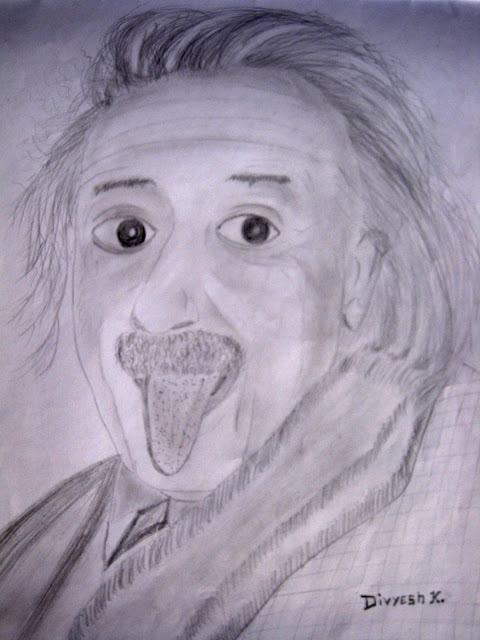 albert einstein  pencil sketch art by Divyesh Lappawala