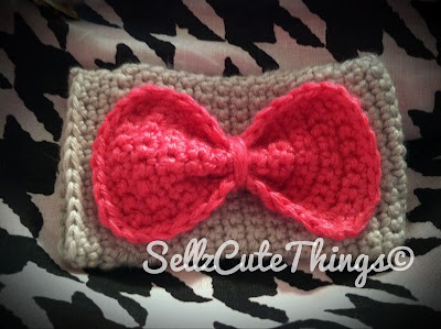 Crochet Bow iPhone Case Cozy Easy Pink