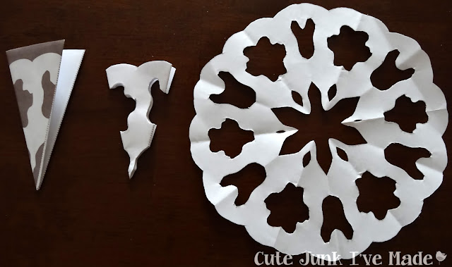 Paper Snowflake Curtain Tutorial - Template 3 folded, cut out and final product