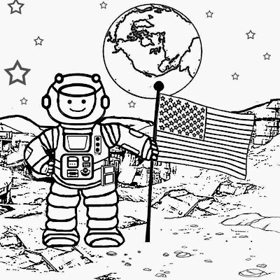Small step for man deep space solar system galaxy colouring pages print a coloring book for children