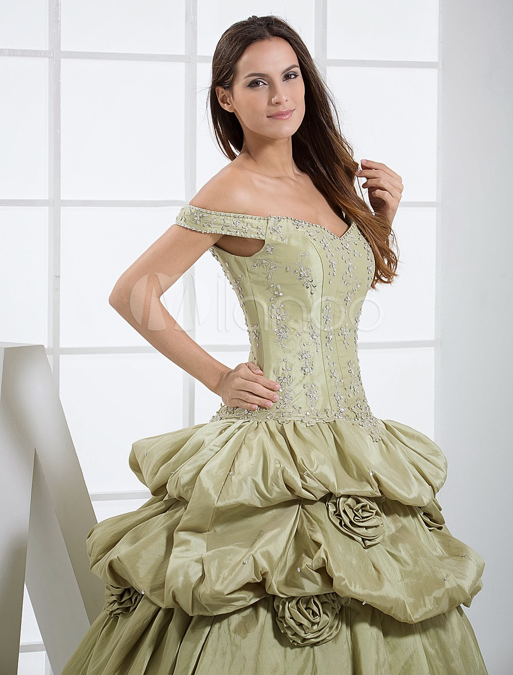 China Wholesale Dresses - Off-The-Shoulder Beading Embroidery Taffeta Ball Gown Dress