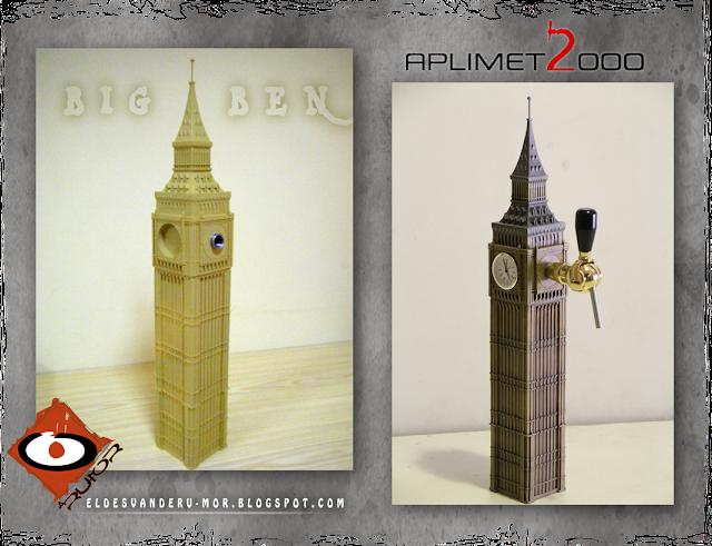 escultura de la torre de BIG BEN de Londres hecha por ªRU-MOR para APLIMET2000. Surtidor de cerveza.