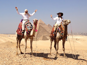 Riding camels in Giza