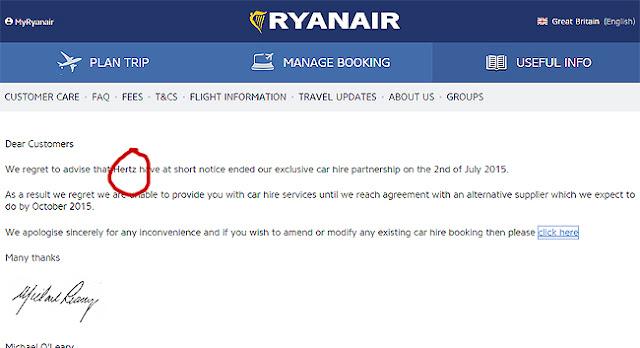 Ryanair rompe con Hertz