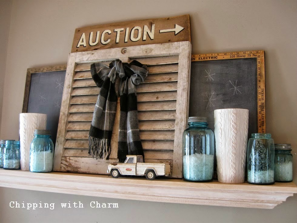Chipping with Charm: Cozy Winter Mantel 2014...http://chippingwithcharm.blogspot.com/
