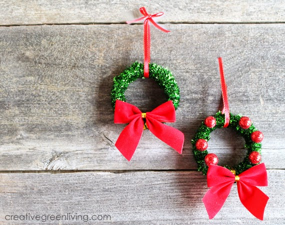 How to make recycled christmas wreath ornaments creative for Homemade christmas decorations ideas