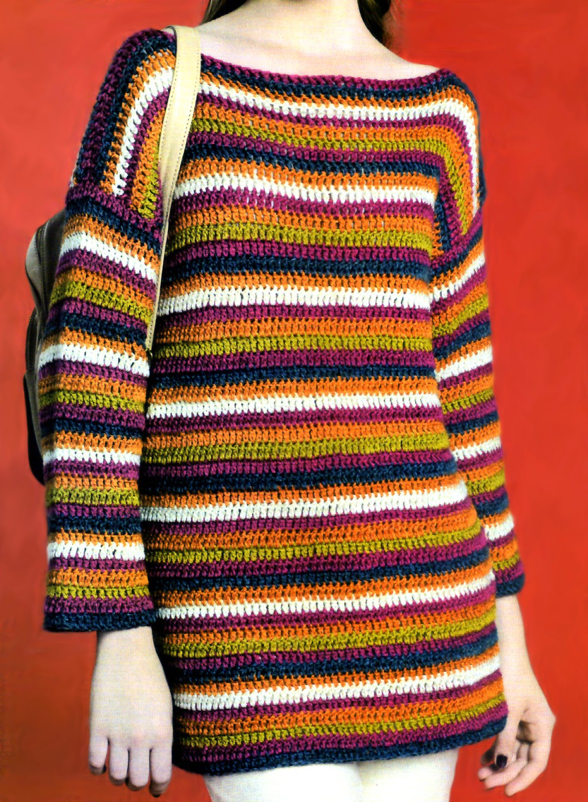 pullover con escote bote a rayas tejido en crochet