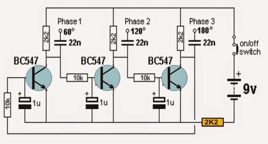 3 Phase Sine Wave Generator Circuit