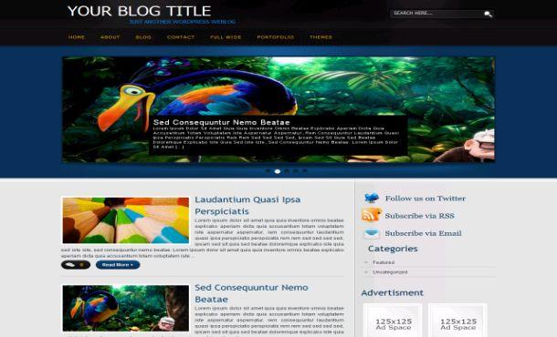 Anime Black Blue Wordpress Theme Template - Free CSS Templates Download