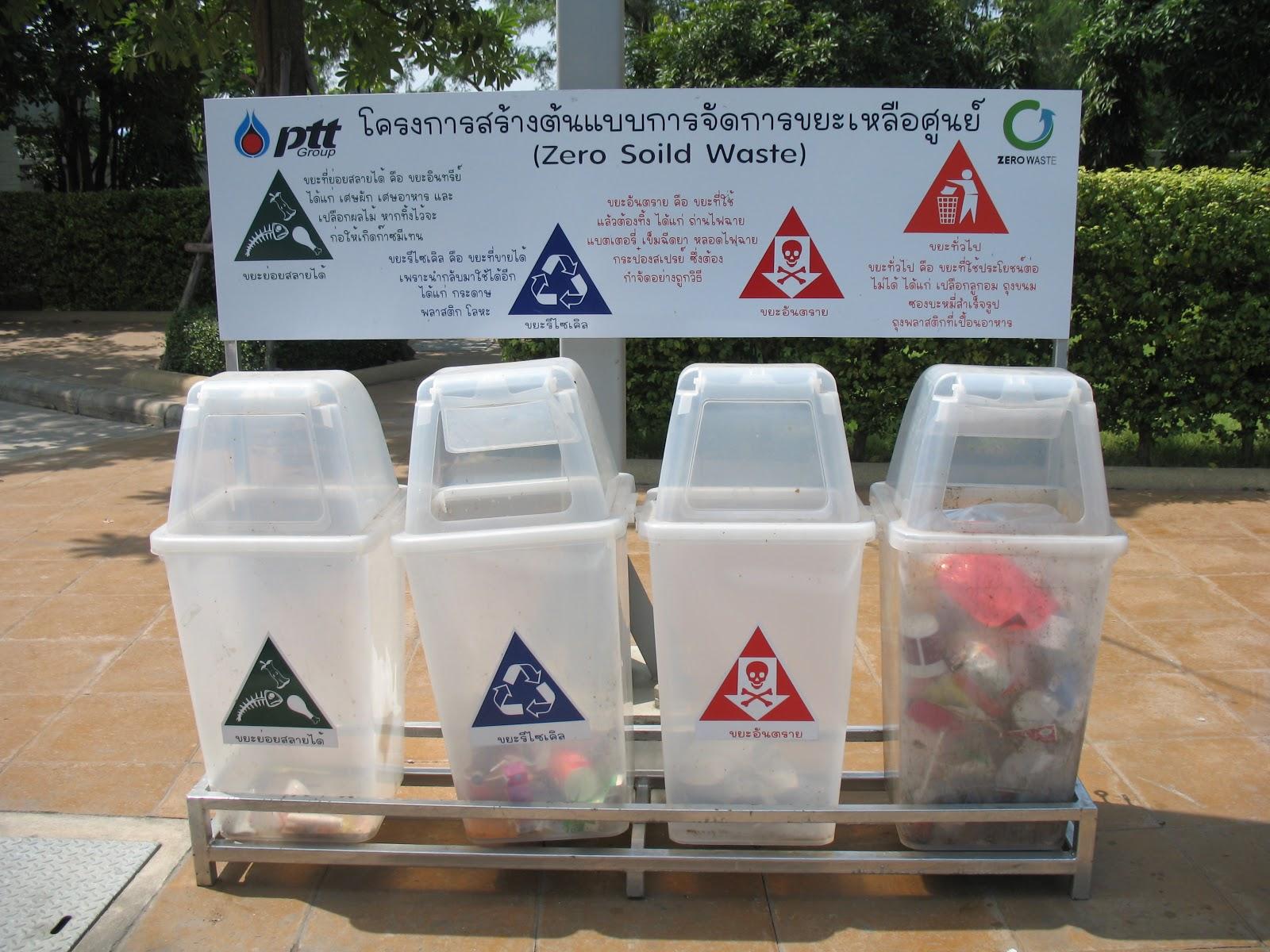 การจัดการขยะ การแยกประเภทของขยะ ถังขยะ