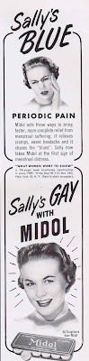 "A 1957 ad that proclaims, ""Sally's GAY with Midol."""