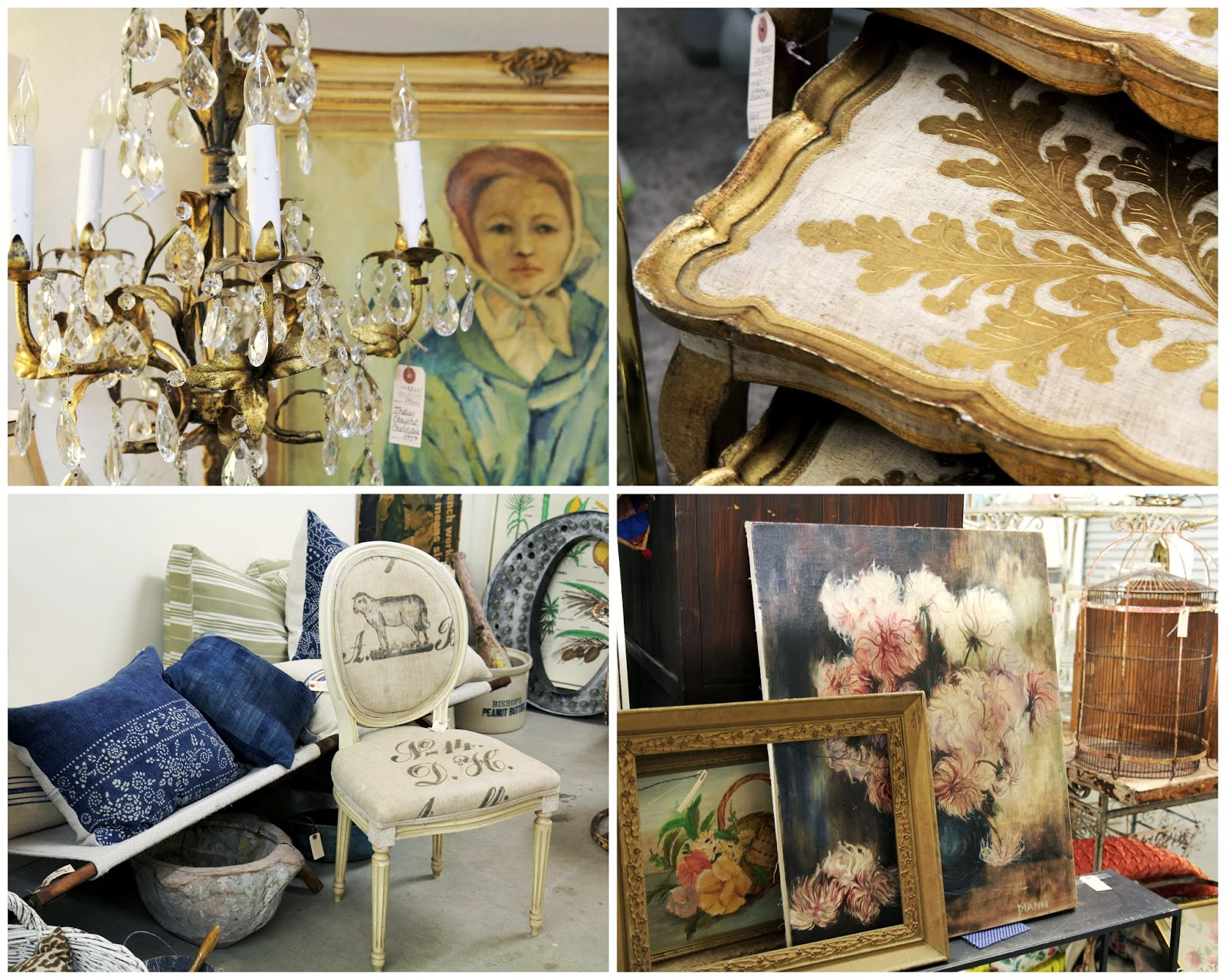 Antique chandelier, paintings, tables, and chairs