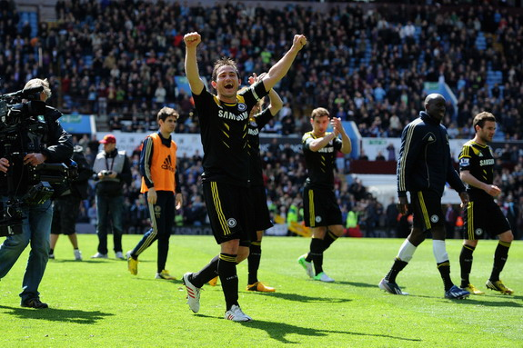Chelsea player Frank Lampard celebrates at the end of a Premier League match against Aston Villa