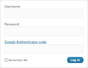 Google Authenticator WordPress Login Page