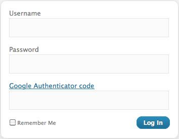 Google Authenticator WordPress Login Page