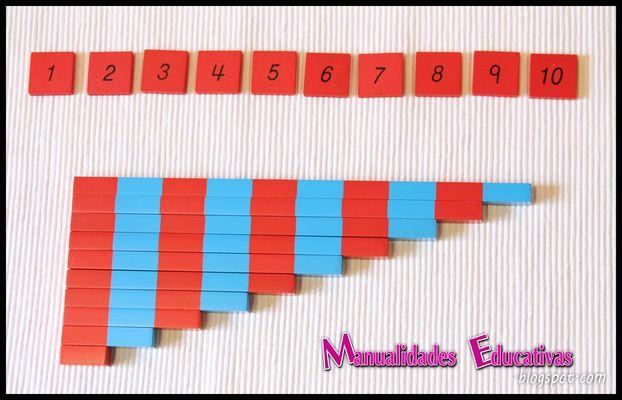 Barras numericas peque as montessori con material for Espejo y barra montessori