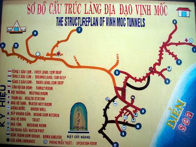 Mapa de Vinh Moc túneis em Dong Ha