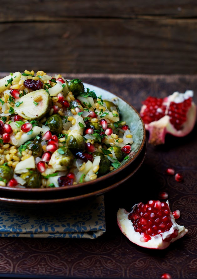 Freekeh with Brussels Sprouts, Apple, Dried Cranberries, Honey & Pomegranate
