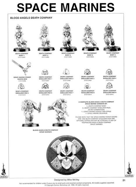 Hoja de catálogo de 1999 con la Compañía de la Muerte