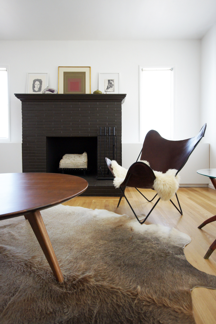black-brown brick fireplace