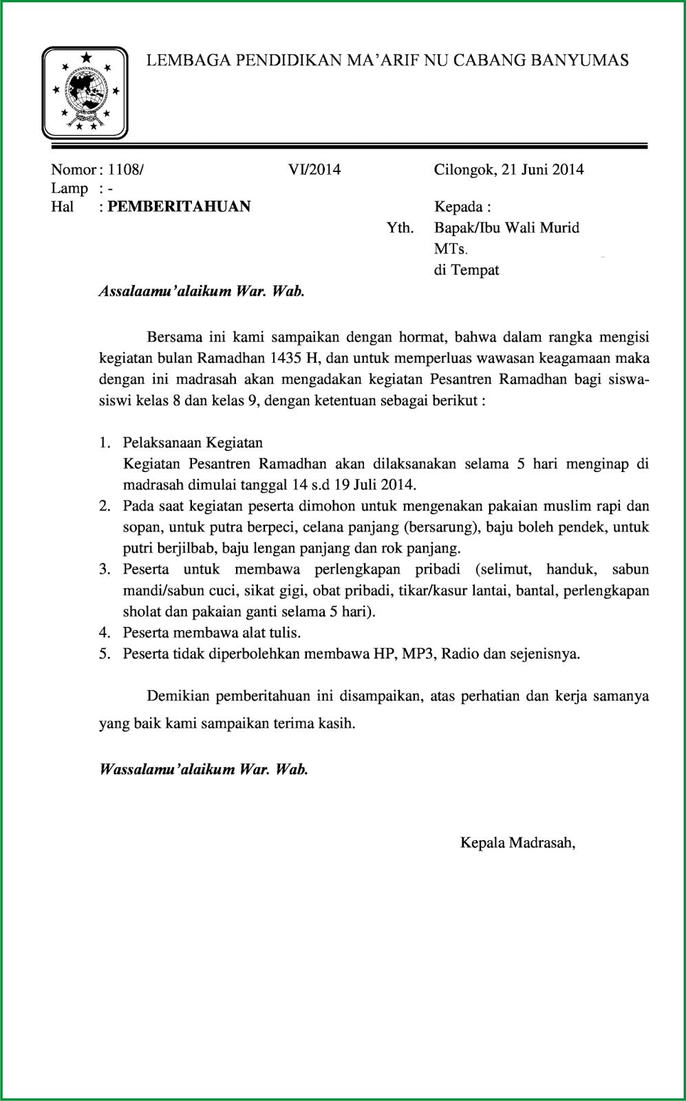 Surat Pemberitahuan Pesantren Kilatramadhan 1435 H