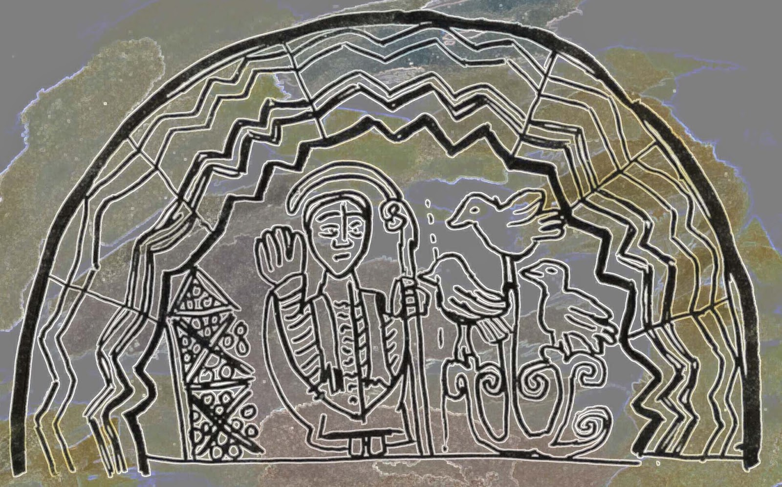 A digitally altered version of my pen sketch of the Norman tympanum. Under a zig-zag arch, a bishop stands next to three birds perched on a tree.