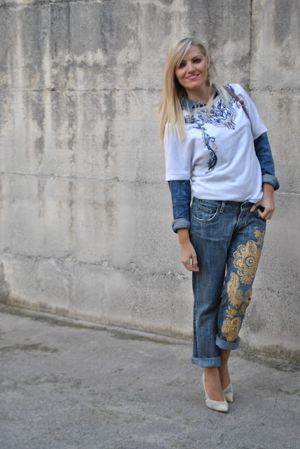 outfit boyfriend jeans decorati come abbinare i jeans boyfriend abbinamenti jeans boyfriend outfit autunnali mariafelicia magno fashion blogger colorblock by felym fashion blog italiani fashion blogger italiane blogger italiane di moda fashion blogger milano ragazze bionde blonde girls blonde hair blondie outfit autunnali outfit ottobre 2015 fall outfit how to wear boyfriend jeans how to combine boyfriend jeans