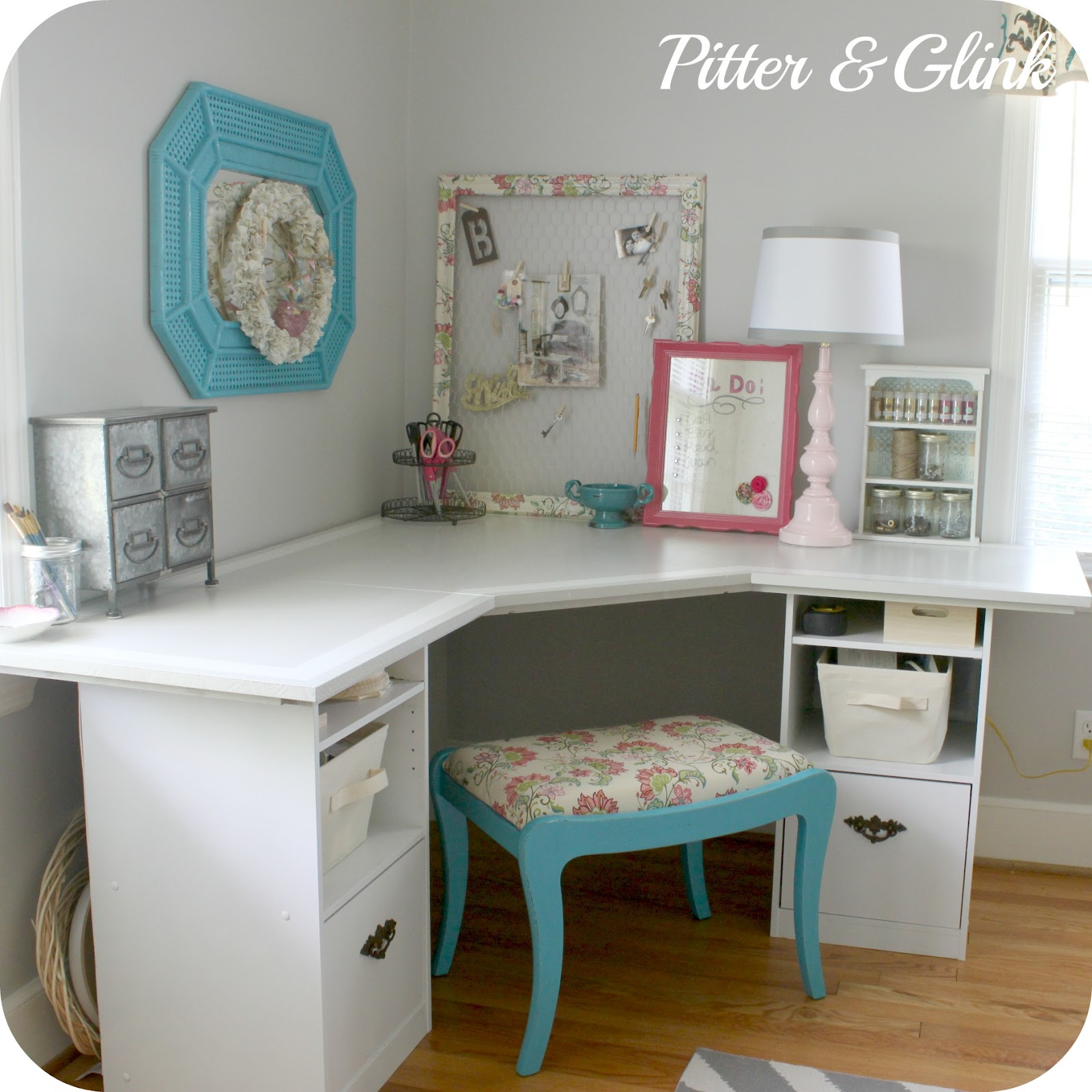 Craftaholics anonymous craft room tour with pitter and for Craft desk with storage