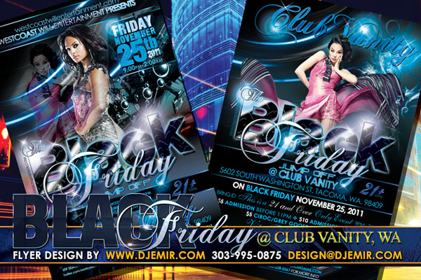 Black Friday Jump Off Flyer Design Club Vanity Tacoma WA