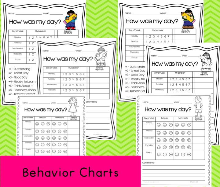 are weekly behavior charts. There is a number rating and smiley face ...