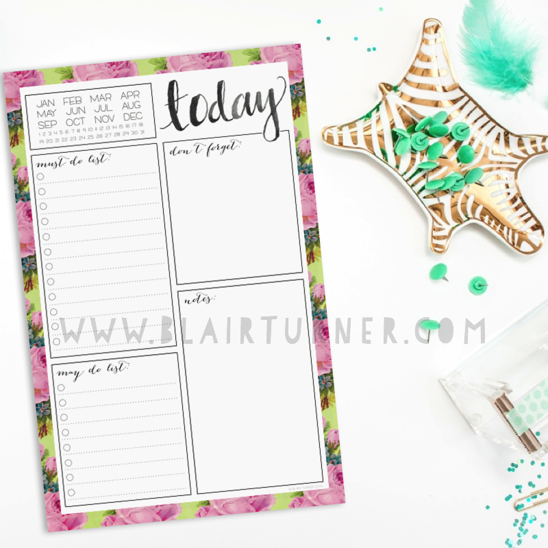 Flowered Daily Planner Notepad