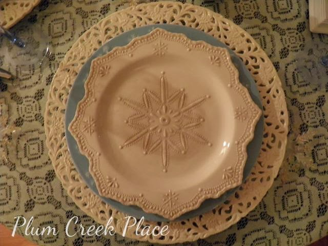 Snowflake plates, blue and white plates, Christmas plates, winter