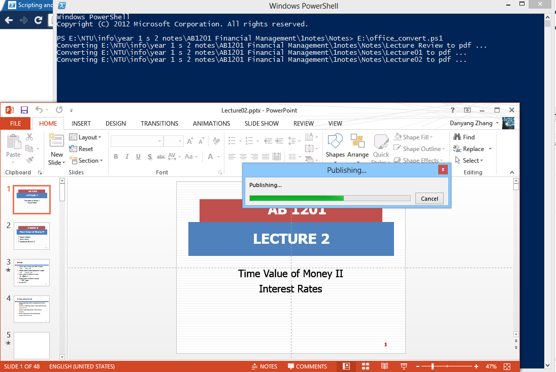 Daniel: Batch Convert ppt doc xls to PDF using PowerShell