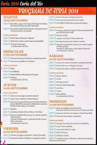 Coria del Río - Feria 2014 - Programación