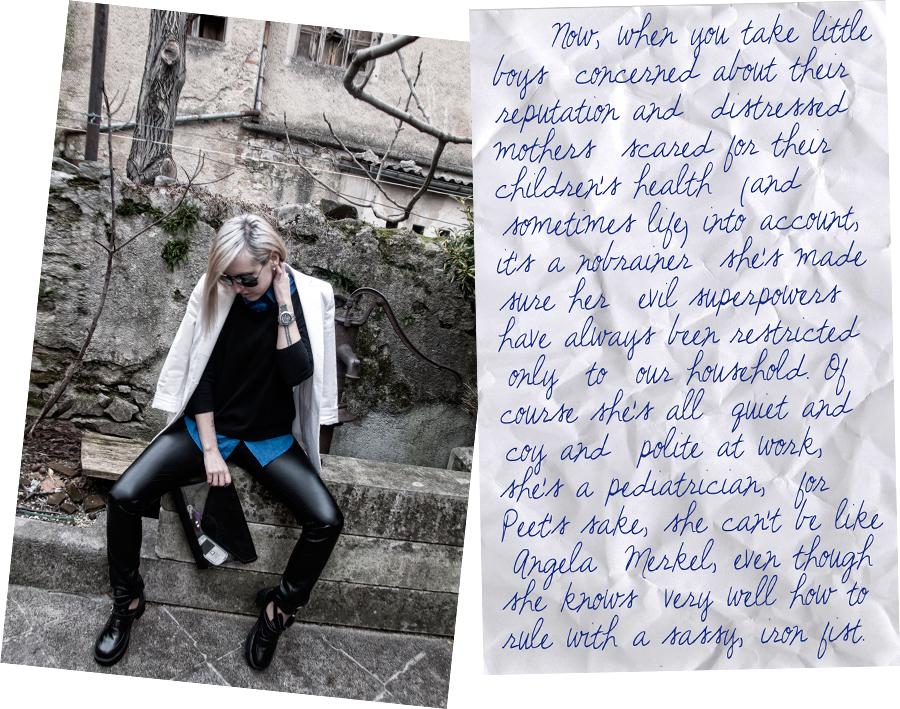For Peet's Sake blog white blazer leather pants blue button shirt mirror aviator sunglasses