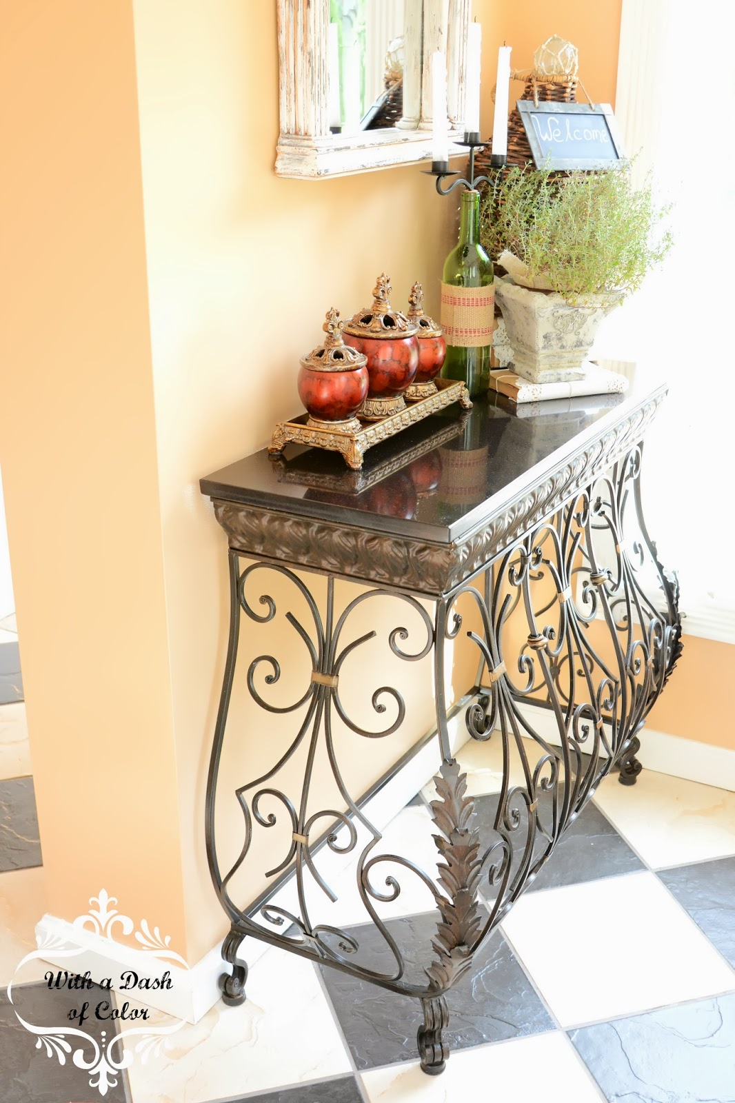 Foyer Table Hobby Lobby : With a dash of color welcome to my foyer