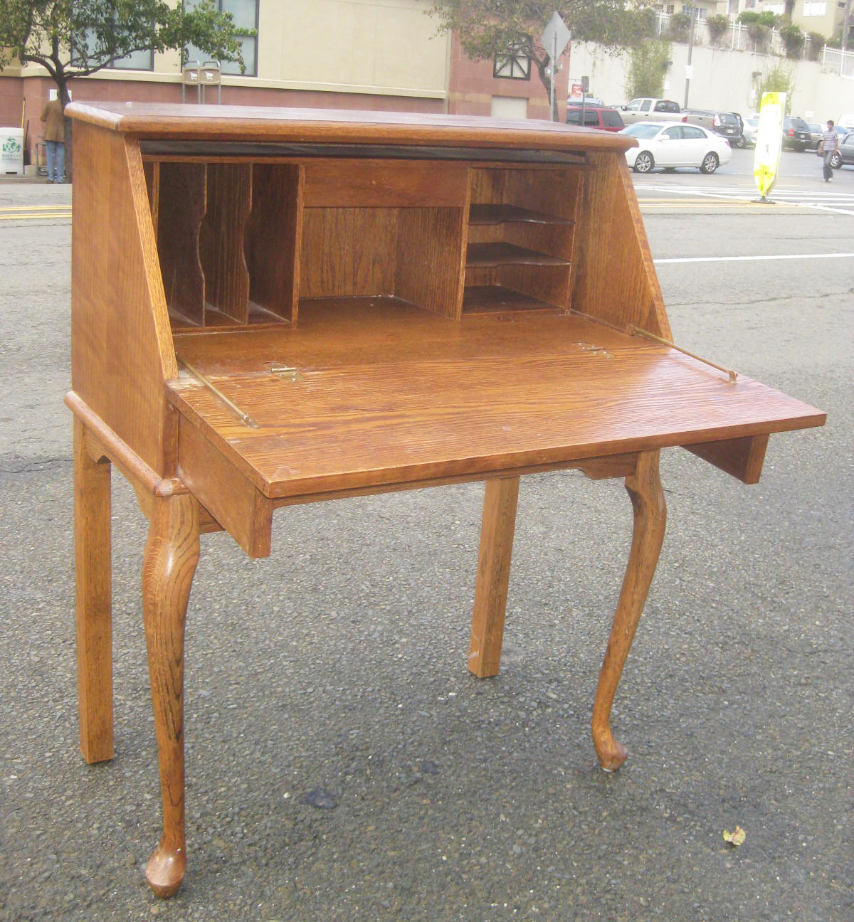 UHURU FURNITURE & COLLECTIBLES: SOLD -Oak Secretary Desk - $100