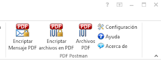 PDF Postman email encryption buttons shown in Outlook 2013 in Spanish language.