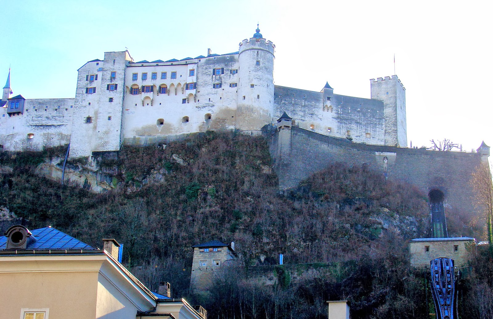 The magnificent Festung Hohensalzburg or Salzburg Castle houses three museums and can be reached via the funicular seen above and to the right of the image.