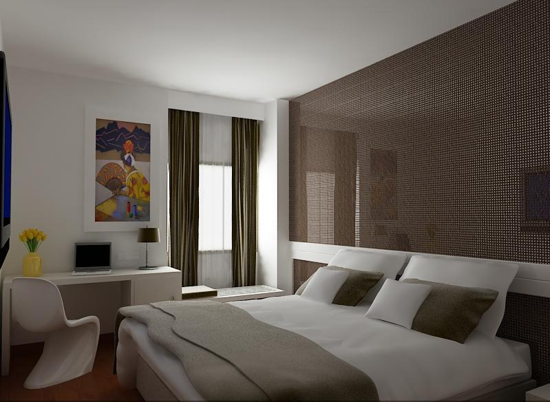 3d hotel design habitaci n de hotel moderna con forrado for Planificador habitacion 3d