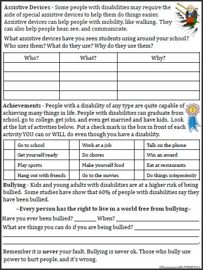 Worksheet Self Advocacy Worksheets empowered by them teaching disability awareness last week i spend three days at a special education conference in san francisco and came away with so many ideas for new worksheets techniques to t