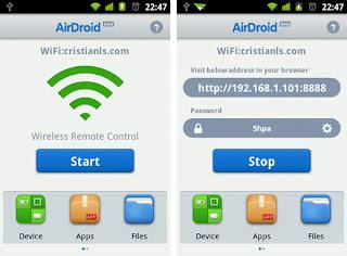 AirDroid UI Mengelola Dan Mengontrol Ponsel Android melalui Wi Fi Dari Browser PC