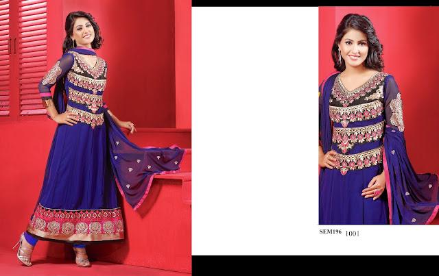 Latest Designer TV Actress Heena Khan Anarkali Suit