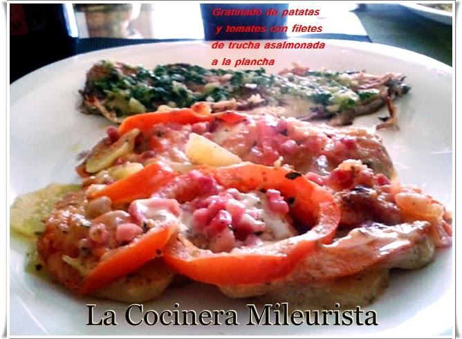 Gratinado De Patatas Y Tomates Con Filete De Trucha Asalmonada A La Plancha (microondas)