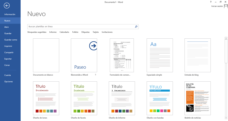 INFORMATICA 1ero BACH: Clase 2. Microsoft Word 2013 Usando plantillas.
