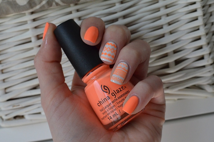 NEON ORANGE AZTEC NAILS