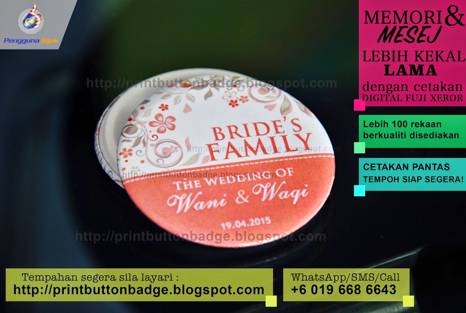 tempahan online button badge brunei