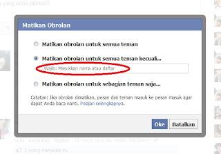 Mengatur chat/obrol dengan kita di Facebook