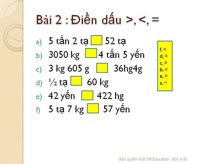 Bài tập đổi đơn vị đo khối lượng - Toán lớp 5(7)