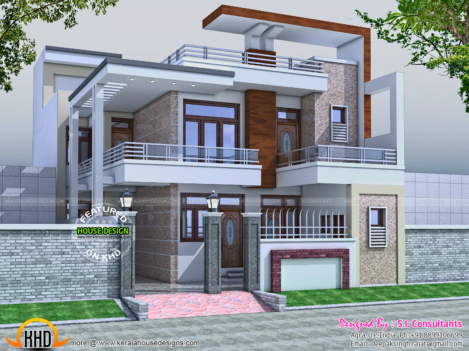 32x60 contemporary house kerala home design and floor plans for Home designs indian style